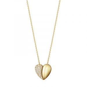 Curve Heart Pendant Guld med 0.17 ct Diamanter - Georg Jensen halsband - Snabb frakt & paketinslagning - Nordicspectra.se
