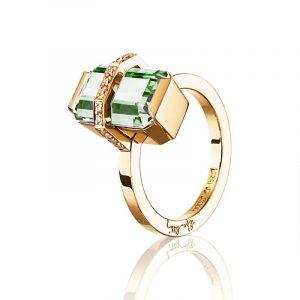 Little Bend Over Ring Green Quartz Gold - Efva Attling ringar - Snabb frakt & paketinslagning - Nordicspectra.se