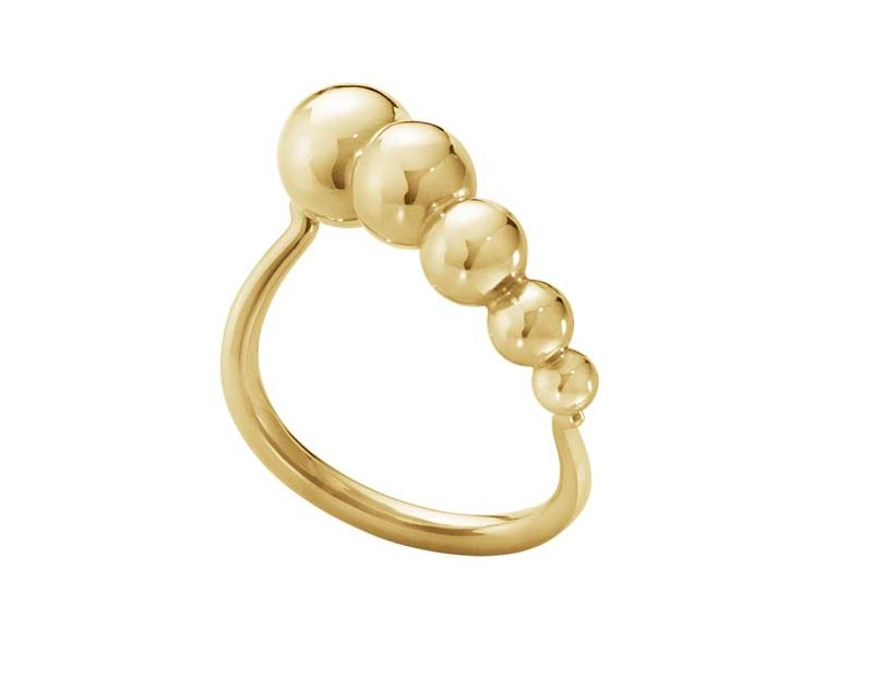 Georg Jensen Moonlight Grapes Slim Wave Ring Guld