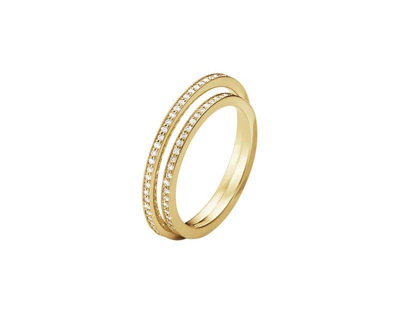 Georg Jensen Halo Dubbel Alliansring Diamanter Guld