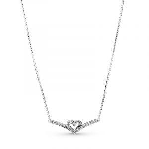 Glittrande Wishbone Heart Collier Halsband - PANDORA - Snabb frakt & paketinslagning - Nordicspectra.se