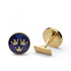 Manschettknappar Tre Kronor Guld Royal Blue - Skultuna - Snabb frakt & paketinslagning - Nordicspectra.se