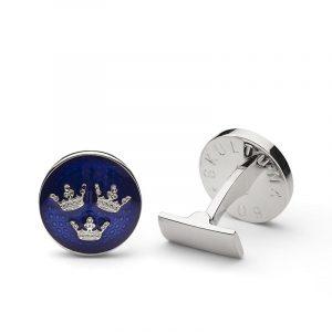 Manschettknappar Tre Kronor Silver Royal Blue - Skultuna - Snabb frakt & paketinslagning - Nordicspectra.se
