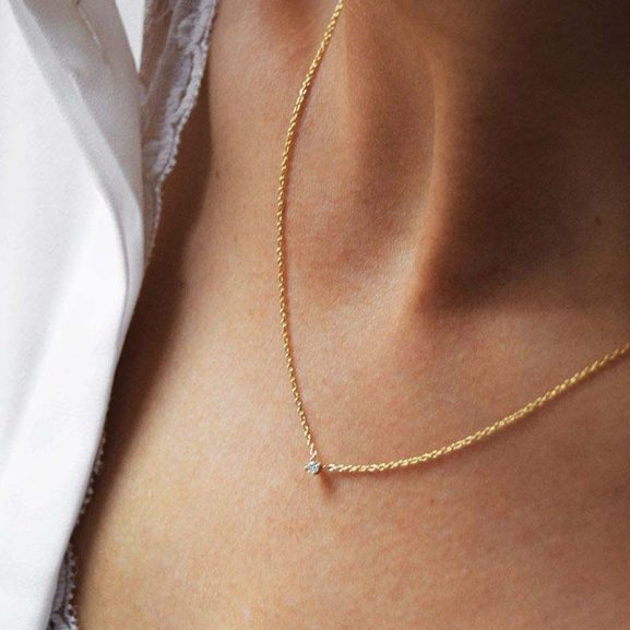 Diamond Sky Drop Necklace Gold - Drakenberg Sjölin Halsband - Snabb frakt & paketinslagning - Nordicspectra.se