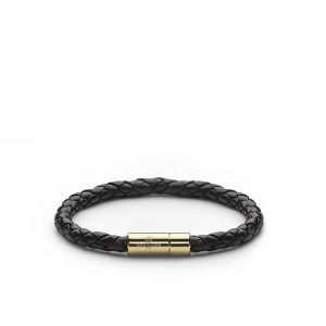 Leather Bracelet Gold - Black - Skultuna - Snabb frakt & paketinslagning - Nordicspectra.se