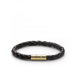 Leather Bracelet Gold - Dark Brown - Skultuna - Snabb frakt & paketinslagning - Nordicspectra.se