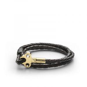 The Key Leather Bracelet Gold - Black - Skultuna - Snabb frakt & paketinslagning - Nordicspectra.se