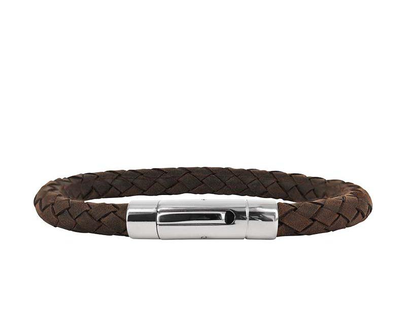 AROCK IZAR Läder Armband Brun/Stål