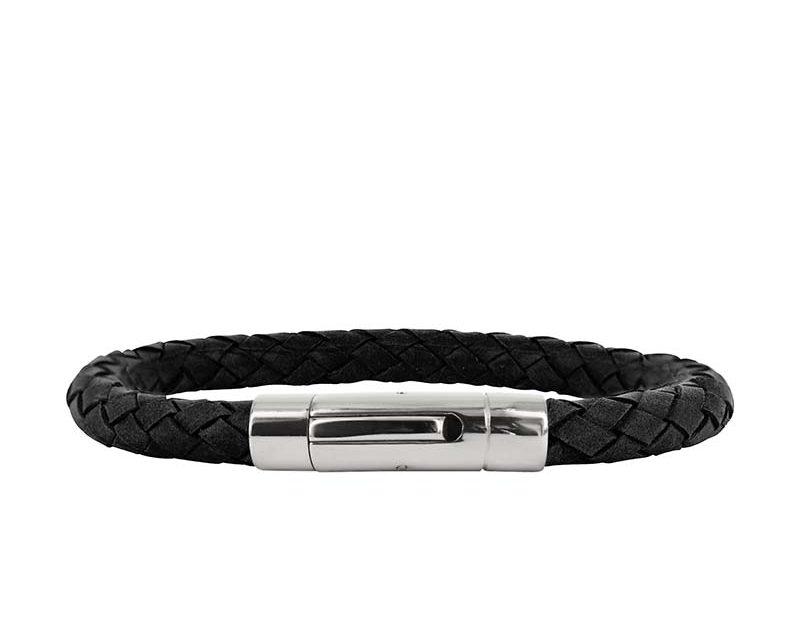 AROCK IZAR Läder Armband Svart/Stål