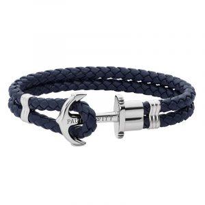 Leather Phrep Armband Marinblå/Silver - Paul Hewitt armband - Snabb frakt & paketinslagning - Nordicspectra.se