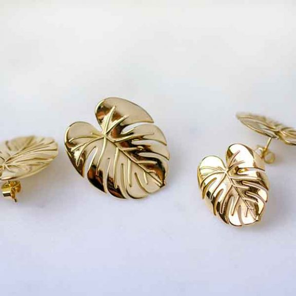 Palm Leaf Earrings Gold - Emma Israelsson - Snabb frakt & paketinslagning - Nordicspectra.se