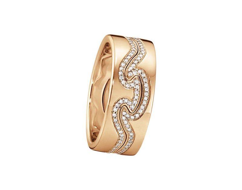 Georg Jensen Fusion 2-delad Ring RG/RG/Diamanter