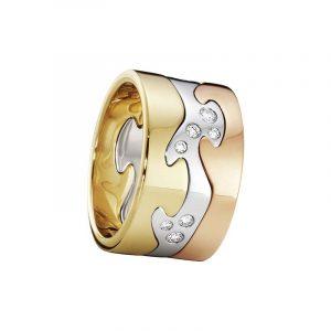 Fusion 3-delad Ring RG//VG/RG/Diamanter - Georg Jensen ringar - Snabb frakt & paketinslagning - Nordicspectra.se