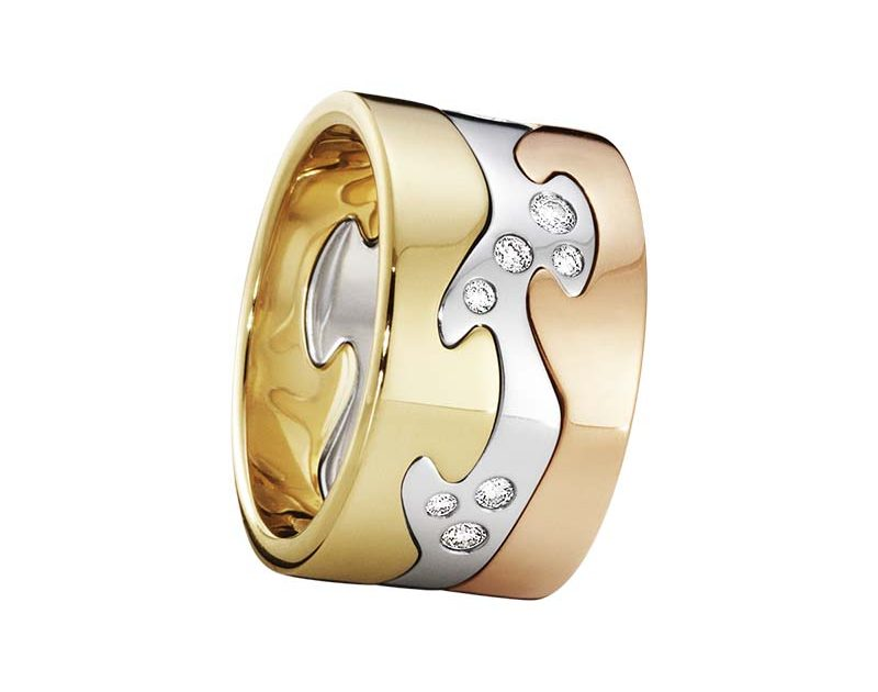 Georg Jensen Fusion 3-delad Ring RG//VG/RG/Diamanter