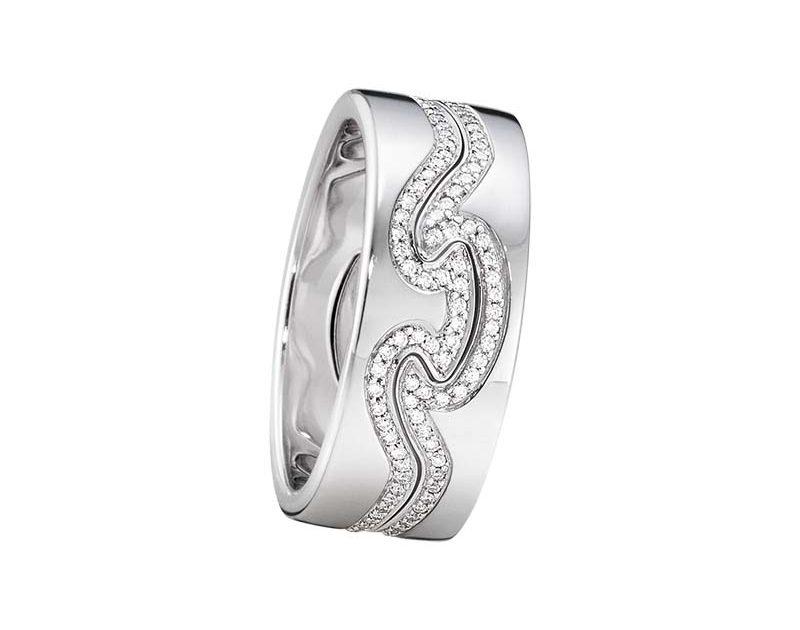 Georg Jensen Fusion 2-delad Ring VG/VG/Diamanter